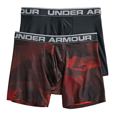 NWT Under Armour Men's 2-Pack Printed Camouflage Boxer Jock Red Black L 3XL