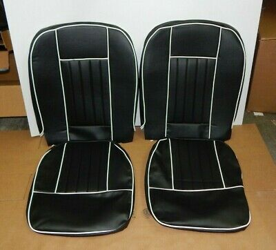New Front Seat Covers Seat Upholstery for MGB 1963-1968 Black Vinyl W White Trim