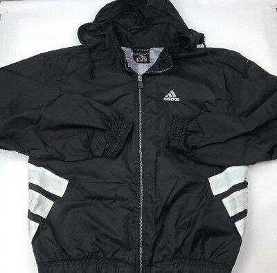 451643802616 Vtg 90 s Adidas Mens Full Zip Hooded Nylon Windbreaker Jacket Black L 3  Stripe