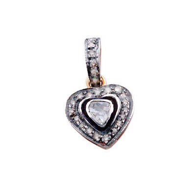 14kt Solid Gold 1.32ct Diamond .925 Sterling Silver Heart Shape Pendant Jewelry