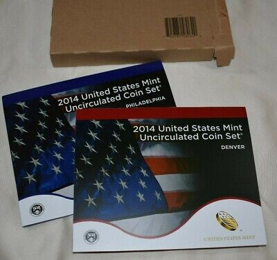 2014 U.S. Mint Uncirculated  P&D Set - 28 Total Coins - Open Box - Sealed Coins