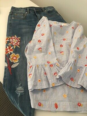 Seed Heritage Girls  Sz 10 Jeans and Floral Top- Gorgeous BNWOT