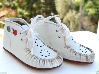 Antique Vintage Old Leather White Doll Baby Shoes Children's Boots from Israel