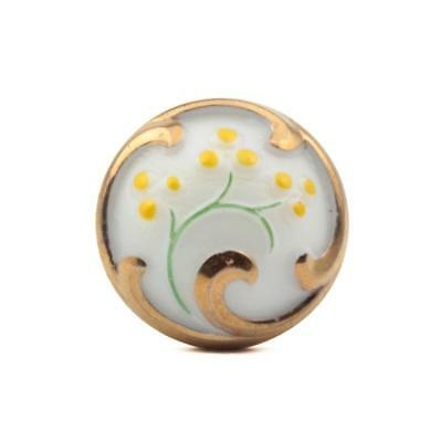 23mm gold lustre yellow hand painted white flower vintage Czech glass button