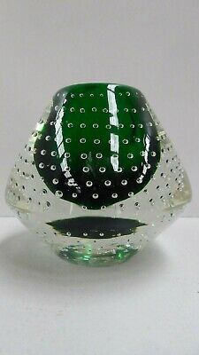 Vintage Green Cased Glass Control Bubble Candle Stick Holder