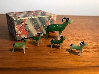 Vintage Chinese Glass Lampwork Animals Deers Set of 5 Old Boxed