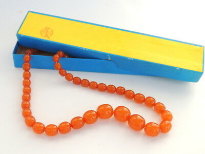 Genuine Vintage Natural Butterscotch Egg Yolk Baltic Amber Beads Necklace in Box