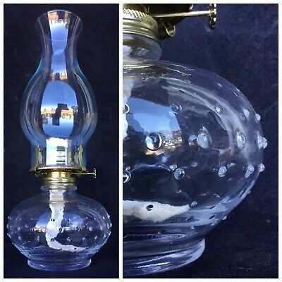 LAMPLIGHT FARMS Clear Glass KEROSENE LAMP Oil Lantern HOBNAIL