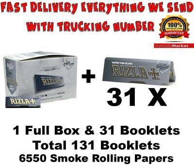 Rizla Silver Smoking Rolling Papers Full Box 100 Booklets Regular Size Original