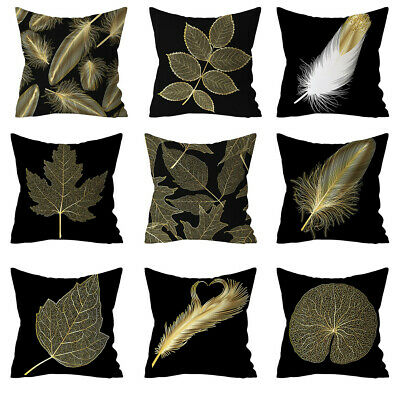 Gold Leaf Printed Polyester Pillow Case Cover Sofa Cushion Cover Home Decor