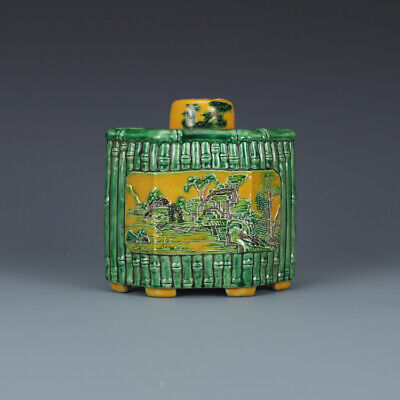 Big Fine Old Chinese Qing Dynasty Plain Tricolor Porcelain Teapot