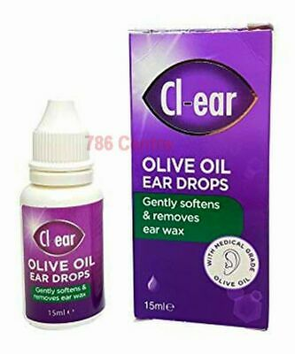 Cl-ear Olive Oil Ear Drops, Gently Soften & Removes Earwax, with Dropper, Clear