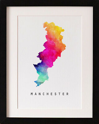 FRAMED Manchester Map Print, Rainbow Watercolour Wall Art, FAB PICTURE GIFT