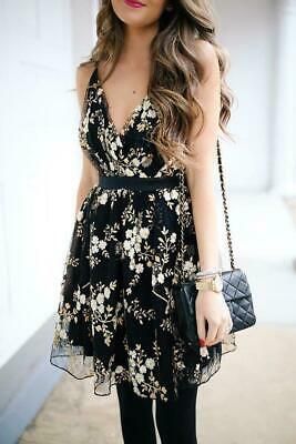 $118 Express Embroidered Black Lace Floral Fit An Flare Tulle Dress  10 12 8 6 4