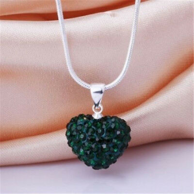 Popular Women Crystal Pendant Jewelry Heart 925 Sterling Silver Necklace+Chain