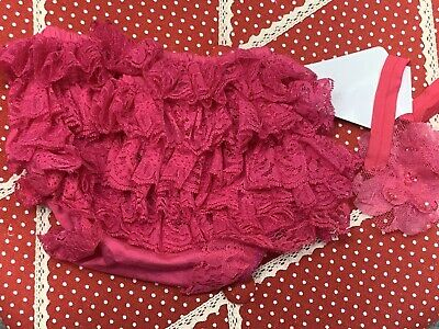 Baby Girls Hot Pink Frilly Nappy Cover Pants & Matching Headband BNWT