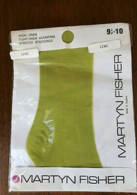 1960s Stockings Lime Green Stockings Martyn Fisher 9.1/2-10 Unseamed