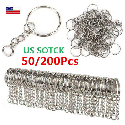 50/200Pcs Polished Silver 25mm Keyring Keychain Split Ring with Short Chain M4