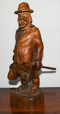 Vintage Black Forest Wooden Carved Man w/ Case & Axe - Made in Finland - Signed