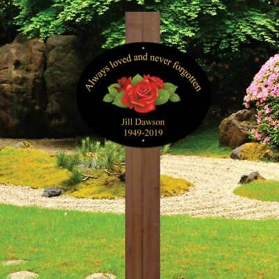 Personalised memorial oval sign Rose Plaque In Loving Memory Garden Grave Marker