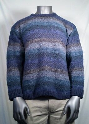 Harley Of Scotland Sweater Merino Wool Blend Blue Green Crew Neck Men's Size XL