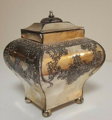 """Barker Brothers DAVID ANDERSEN Silverplate Bombe 5.5"""" Repouse Tea Caddy Box RARE"""