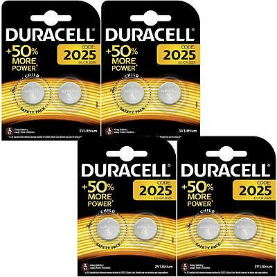 8 x Duracell CR2025 3V Lithium Coin Cell Battery 2025, DL2025, BR2025 for Keyfob