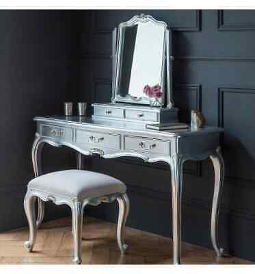 Frank Hudson Silver Leaf Guilded French Chic 3 Drawer Dressing Table, Mirror ...