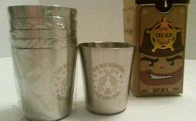 Stainless Steel Shot Glasses, Set of 6 - 2 oz Unbreakable Metal Shooters Gift
