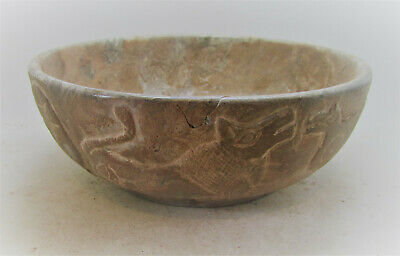 Scarce Ancient Sasanian Stone Carved Bowl With Animal Depictions 250-650Ad