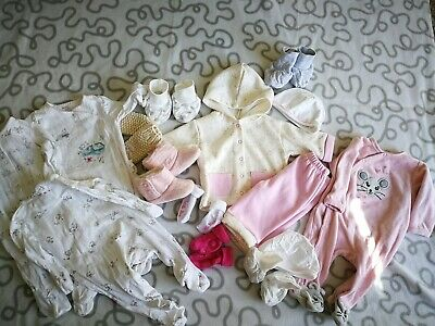 Baby Girl Bundle 1-3 Months Shoes Jumper Bodysuit Lot Of 15 Items / D1