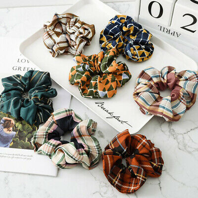 Vintage Lattice Hair Scrunchie Ponytail Holder Hair Ties Elastic Hair Bands Gift