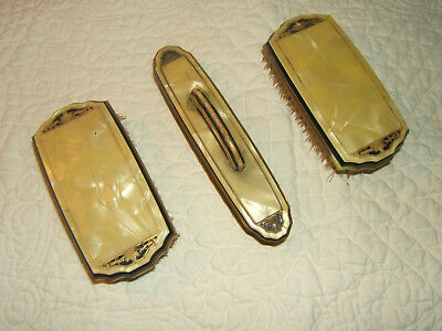 Vintage Art Deco Pyralin Sheraton Celluloid 3 Piece Vanity Set-Pearlized W/Black