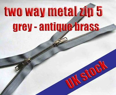 Grey Metal Zip Two Way Zip No5 Antique Brass Zipper  60 - 80cm Double Zip