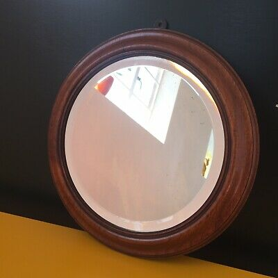 Round Antique Mirror With Mahogany Frame | Victorian Circular Bevelled Mirror