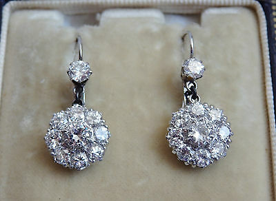 Antique Edwardian Scottish Diamond (Approx' 2.18cts) Drop Earrings c1910 in Case