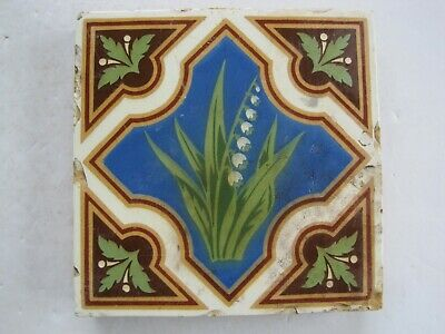 ANTIQUE VICTORIAN MINTON GLAZED ENCAUSTIC FLOOR TILE - LILY OF THE VALLEY c1840