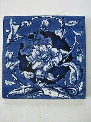 ANTIQUE VICTORIAN SHERWIN & COTTON BLUE FLORAL WALL TILE c 1877 - 1900