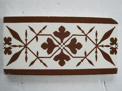 Antique Victorian Brown On Cream Mintons / A.w.n. Pugin Gothic Print Border Tile