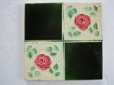 Antique Corn Bros Moulded Art Nouveau Wall Tile Quartered Red Roses C1898-1904