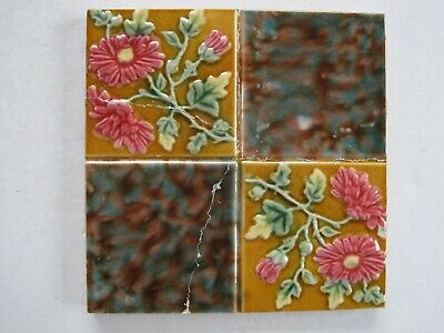 ANTIQUE VICTORIAN WALL TILE - MOULDED QUARTERED PATTERN - LEA & BOULTON c.1899