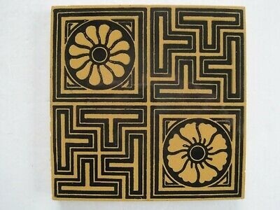 ANTIQUE VICTORIAN MINTON HOLLINS BLACK ON BUFF GEOMETRIC WALL TILE c1875-1910