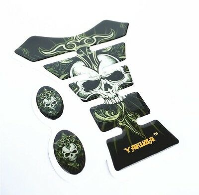 Black Skull 3D Motorcycle Fuel Tank pad Decal  Tank Protector Cover Sticker