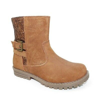 Young Girls Tan Faux Suede Ankle Boots with Glitter & Side Zip Size Infant 8 - 1