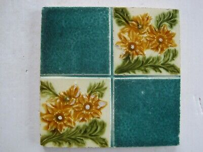 Antique T & R Boote? Moulded Art Nouveau Wall Tile Quartered Floral Pattern