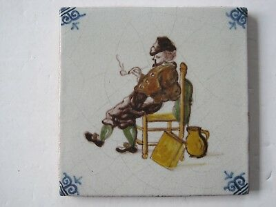 Vintage Makkum Tichelar Handmade And Painted Delft Tile -  Seated Pipe Smoker