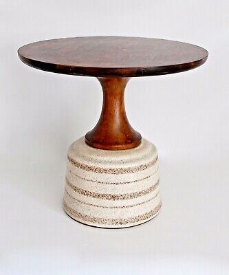 Drexel Van Koert Vtg Mid Century Modern Walnut Wood Pottery Side End Table Stool