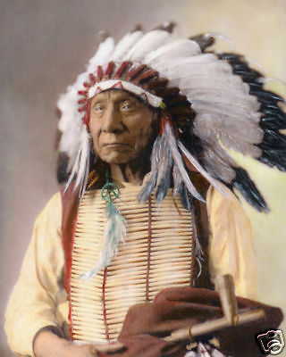 """CHIEF RED CLOUD NATIVE AMERICAN SIOUX INDIAN 1897 8x10"""" HAND COLOR TINTED PHOTO"""