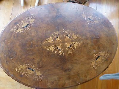 Antique Oval Marquetry Coffee Table – Wood Inlaid in Wood -- Unusual & Amazing.