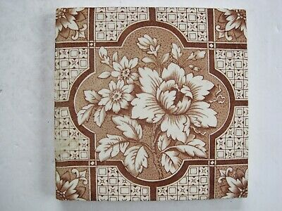 Antique Victorian Brown On Buff Transfer Print Floral Wall Tile - Lea & Boulton?